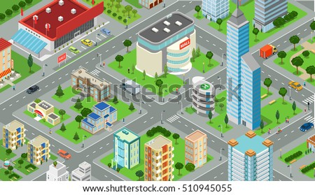 Flat isometric megalopolis blocks infographics with roads and crossroads vector illustration. 3d isometry modern city buildings and architecture collection. Сток-фото ©