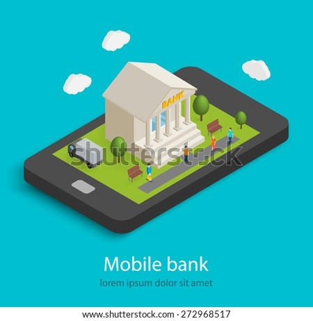 Flat isometric mobile banking concept. 3D bank building on smartphone,  isolated. Tiny people are coming to building, vector illustration
