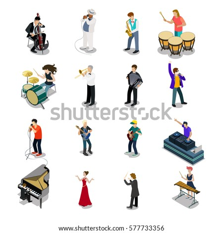 Flat isometric Musicians and showmen vector icon set. 3d isometry Entertainment concept. Group of people playing instrument, scene concert. DJ, drummer, entertainer, emcee, saxophonist characters. Stock photo ©
