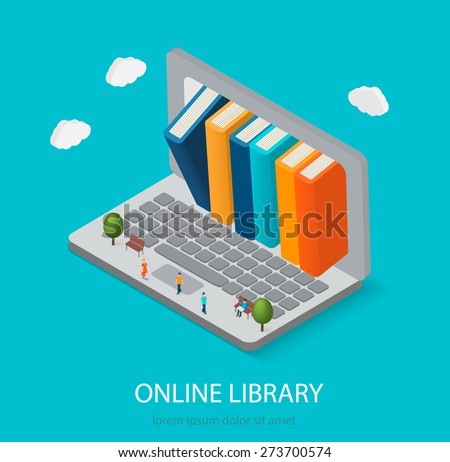 Flat isometric online books shop, digital library concept. Laptop computer with books inside, vector illustration. Little people reading books.