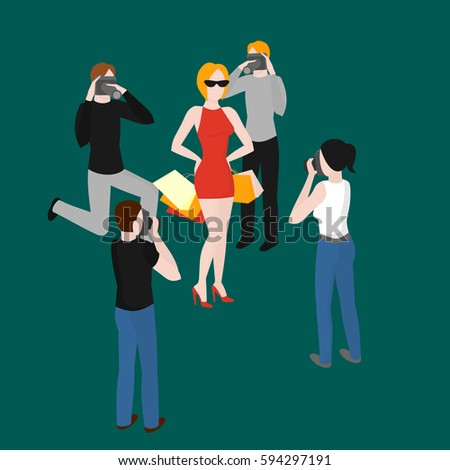Flat isometric paparazzi taking pictures of popular superstar. Celebrity photographer shooting idol woman vector illustration