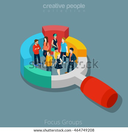 Flat isometric people group inside magnifier diagram vector illustration. Marketing social focus group 3d isometry concept.