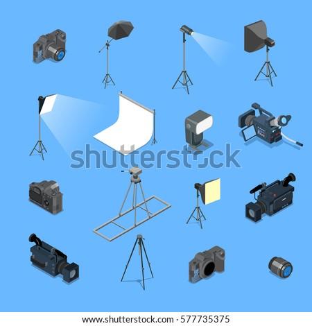 Flat isometric professional photo studio lighting equipment and camera vector illustration set. 3d isometry creative photostudio concept.