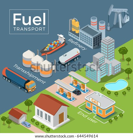 Flat isometric refinery, transport, gas station, end user vector illustration. 3d isometry Fuel Transportation concept. Tanker, tank, auto fuel truck on grey and buildings on green nature background.