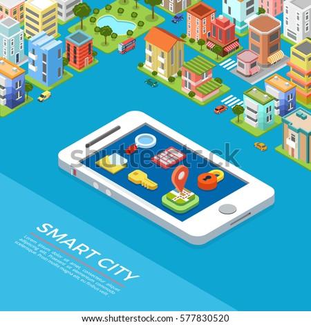flat isometric smart city app