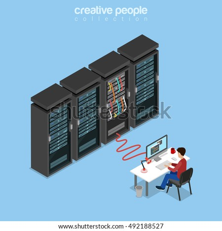 Flat isometric System Administrator, Server Admin, IT guy, Programmer or code developer working on computer, connected to server rack vector illustration. 3d isometry Technology and Telecom concept.