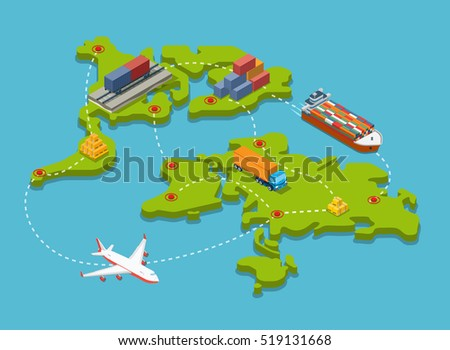 Flat isometric Train carriage, Trucks, Plane, Barge with cargo; transport connection and destination points on world map vector illustration. 3d isometry Transportation, Shipping, Delivery concept.