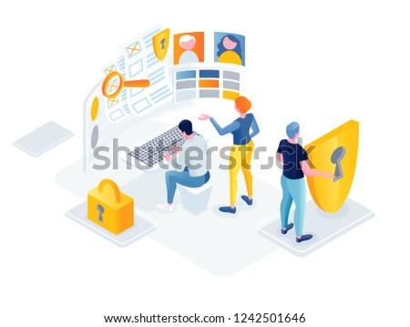 flat isometric vector business illustration. people characters are working on the protection of personal data. solid teamwork. Protection of personal personal Internet information. Graphics design for