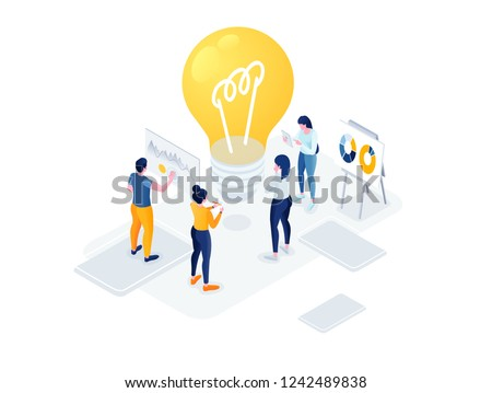 Flat isometric vector business illustration. small people characters develop creative business idea. Isometric big light bulb as metaphor idea. Graphics design for posters, flyers and banners, Landing
