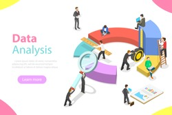 Flat isometric vector concept business statistics and analytics, audit report, company performance analysis.