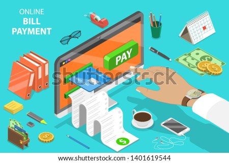 Flat isometric vector concept of bill payment, shopping, online banking, accounting, bank transaction.
