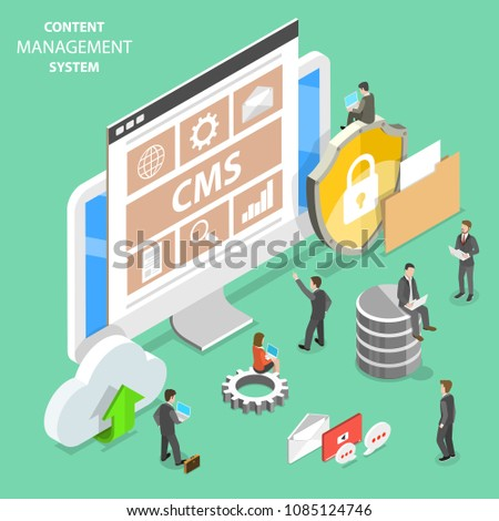 Flat isometric vector concept of CMS - content management system.