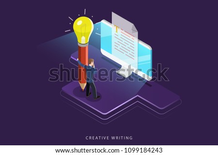 Flat isometric vector concept of creative writing, copywriting, content creating.