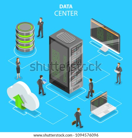 Flat isometric vector concept of data center, cloud storage, secure server database, hosting, file service.