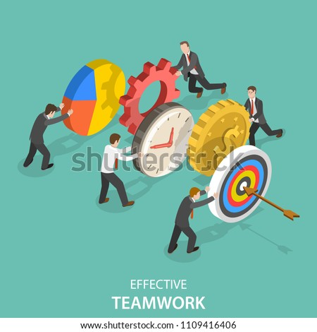 Flat isometric vector concept of effective teamwork, business team, brainstorm.