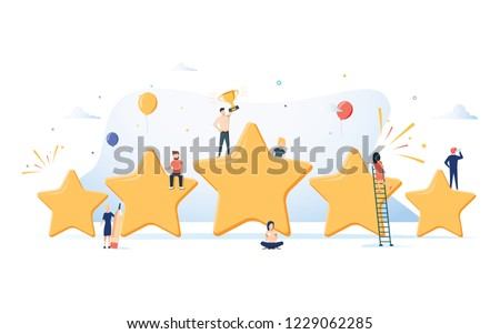 Flat isometric vector concept of five stars, best rating, customer feedback, positive review. Winner award First place competition stars. Success reward vector. Business Success reviews from customers