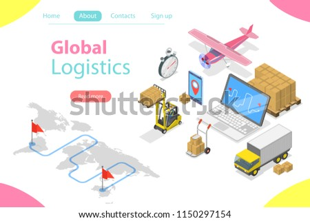Flat isometric vector concept of global logistics, worldwide freight shipping, fast delivery.