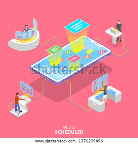 Flat isometric vector concept of mobile scheduler, business planning, schedule, meeting appointment, agenda
