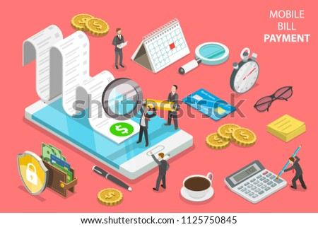 Flat isometric vector concept of online bill payment, shopping, banking, accounting.