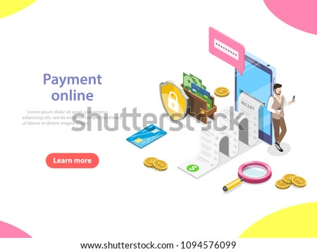 Flat isometric vector concept of receipt, online payment, money transfer, mobile wallet.