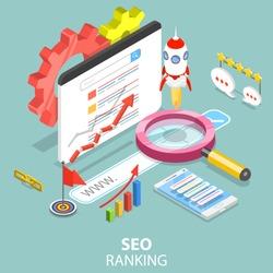 Flat isometric vector concept of Search engine ranking, web analytics, SEO, website optimization marketing.