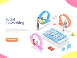 Flat isometric vector concept of social media network, digital communication, chatting.