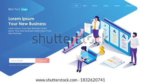 flat isometric vector illustration, a list of price packages ストックフォト ©