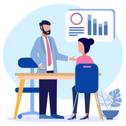 Flat isometric vector illustration isolated on white background. Financial consulting concept. Ask for expert input about business.