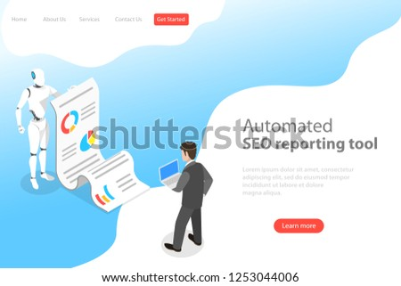 Flat isometric vector landing page template of automated SEO report, website performance, data analysis, web analytics, digital marketing strategy.