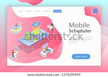 Flat isometric vector landing page template of mobile scheduler, business planning, schedule, meeting appointment, agenda