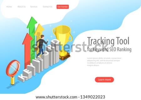 Flat isometric vector landing page template of tracking tool for keyword SEO ranking, web analytics, website optimization marketing.