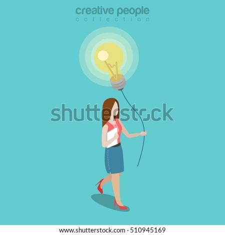 flat isometric woman holding
