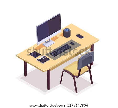 Flat isometric workspace with desktop on table. Connected computer with modern wireless devices set. 3d vector illustration.