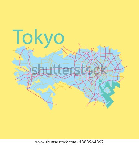 flat japan tokyo   top view map