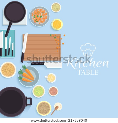 flat kitchen table for cooking