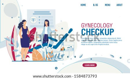 Flat Landing Page Offering Gynecology Checkup for Women. Female Visiting Gynecologist Doctor. Examination Room with Gynecological Chair Design. Medical Appointment. Vector Health Care Illustration