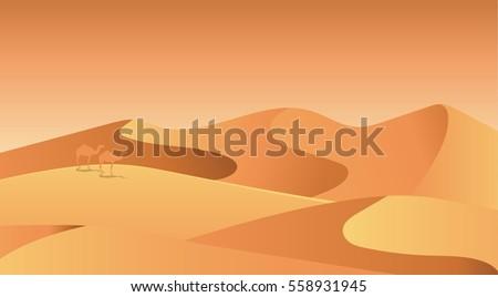 Flat landscape design vector illustration with desert
