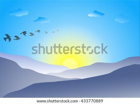 flat landscape of blue mountain