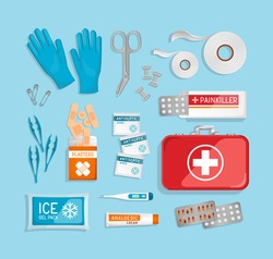 Flat lay 3D First Aid Kit & red suitcase on blue background. Car, office, travel first aid kit with contents. Suitcase, plasters, bandage, pills, gloves. Realistic vector illustration.