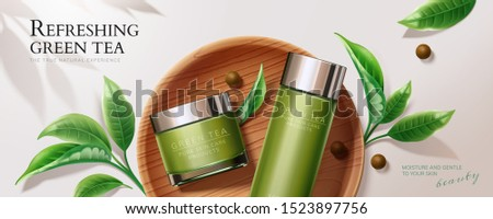 Flat lay natural green tea skincare banner ads with containers and leaves in 3d illustration Foto stock ©