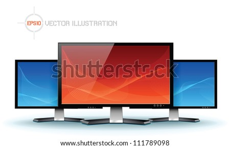 Flat lcd tv monitor, detailed vector - stock vector