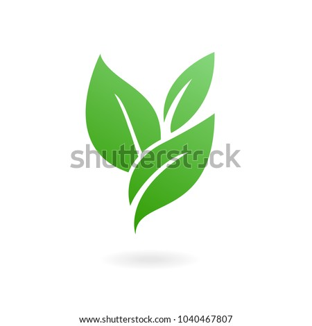 Flat leaves icons. Vector illustration. Abstract Leaf Logo design vector template.