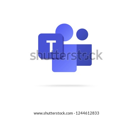 flat letter t icon with people