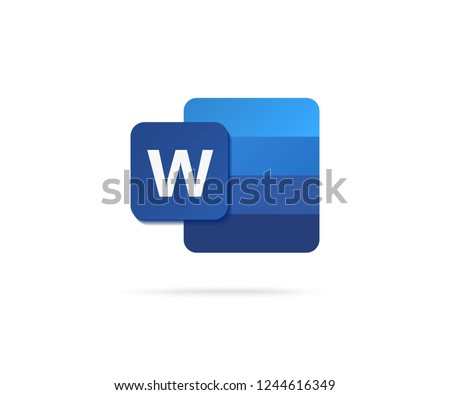 flat letter w icon with blue