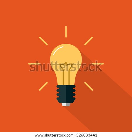 Flat Light bulb Icon on an Orange Background