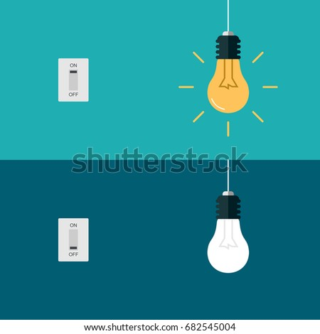 Flat Light Bulbs Turned on and Turned Off with Light Switches on Turquoise Background