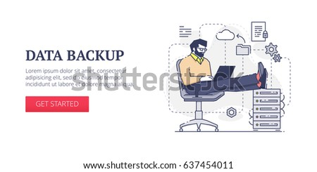 Flat line banner design template of data backup, cloud computers and system administration processes. Vector modern blue line illustration with text sample and button