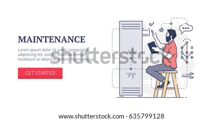 Flat line banner design template of technical support, server cervises and system administration processes. Vector modern blue line illustration with text sample and button