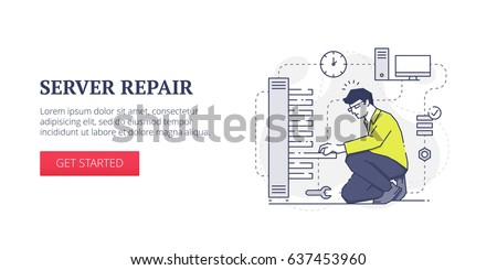 Flat line banner design template of technical support, server services and system administration processes. Vector modern blue line illustration with text sample and button