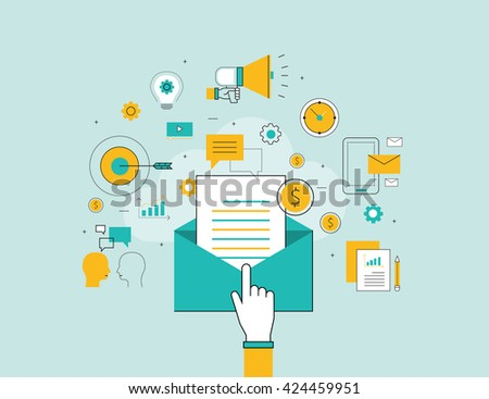 flat line business email marketing background concept